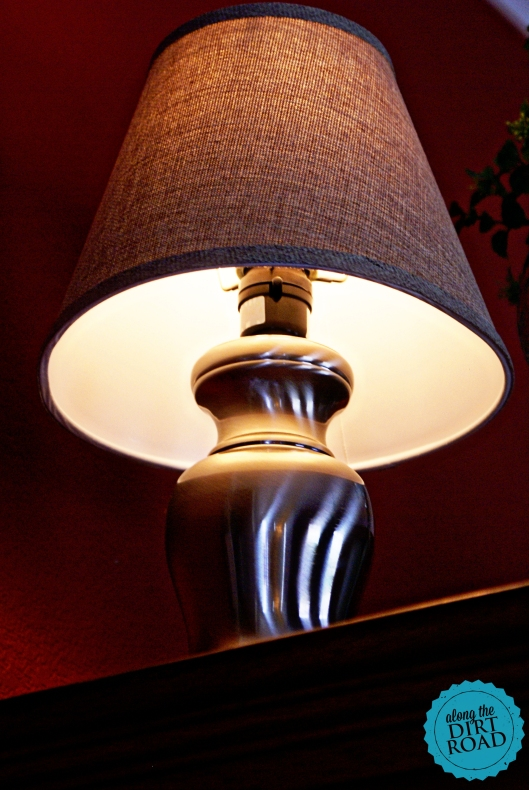 I was needing a new lamp and I already had the burlap shade.  I found this nickel lamp at our thrift store for four American dollahs!  Yay!